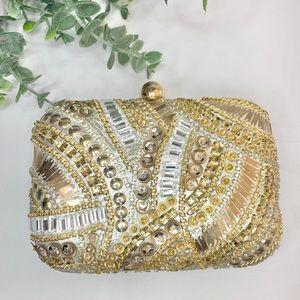 INC Jocelyn Beaded  clutch Gold Bag